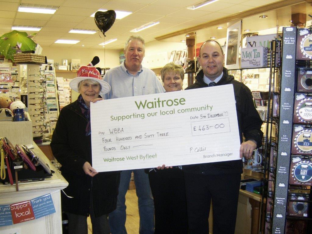 WBBA Xmas Waitrose Cheque